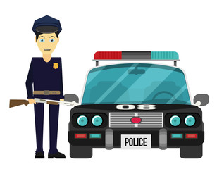 Vector illustration, flat design. Police officer with car