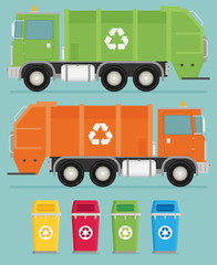 Different color trashcans and truck illustration