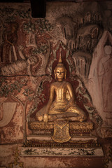 The Mural.Plaster carvings.Buddha  in Thai Temple