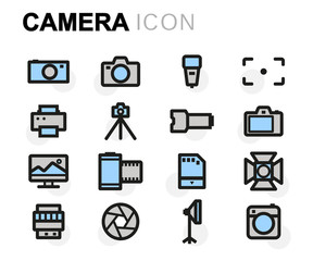 Vector flat camera icons set