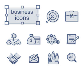 Thin line icons set, Linear symbols set, Business