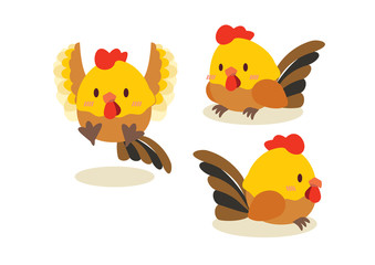 cute chicken character mascot design illustration vector