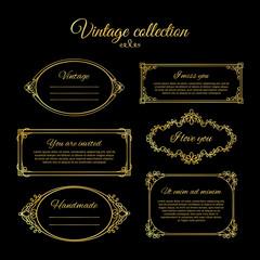Golden calligraphic vignettes for menu design and flourishes frames for wedding invitations. Vctor illustration