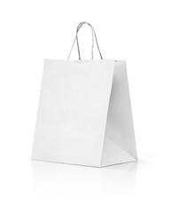 white paper kraft shopping bag isolated on white background