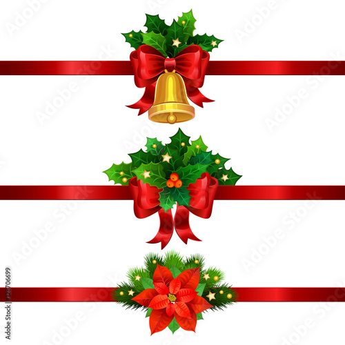 holiday christmas decorations with gold bell and bow