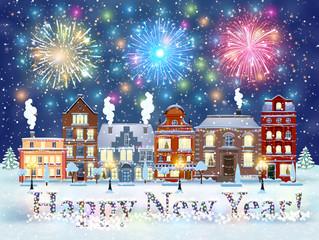 Christmas winter city street