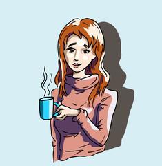 Dame met kop koffie