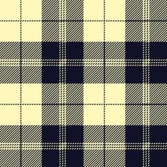 Seamless tartan plaid pattern. Checkered fabric texture background in pale yellow & dark blackish blue.