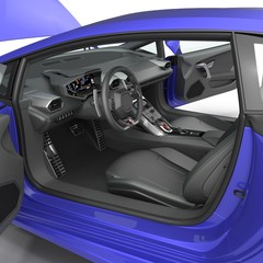 Blue modern supercar interior isolated on white. Doors opened. 3D Illustration