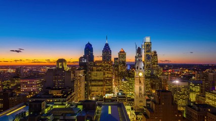 Fototapete - Philadelphia, Pennsylvania, USA Skyline time lapse.