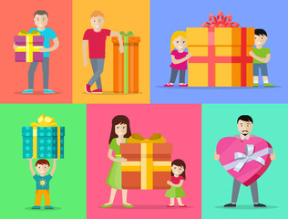 Happy Peoples with Gifts Flat Design Vectors Set