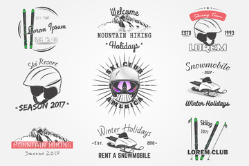 Set Ski Club Team. Mountain and Outdoor Adventures. Rent a snowmobile for winter holidays and vacation. Typographic labels, stickers, logos