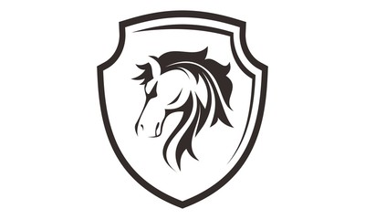 horse head with shield logo template