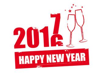 Stempel Happy New Year 2017 Fototapete