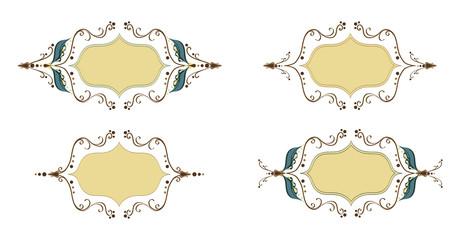Elegant thin vector holiday ornament frame set. Leafs frame for design, date cards, wedding invitations. Old fashioned art work frames. Set of vintage design elements.