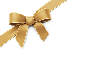 Golden ribbon with bow - corner