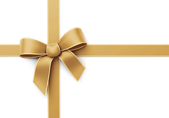 Golden ribbon with bow - crosswise