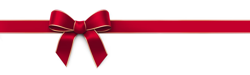 Red silk ribbon with bow - panorama banner