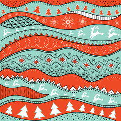 Christmas hand-drawn ethno pattern, tribal background. Merry Christmas design. It can be used for wallpaper, web page and others. Vector illustration.