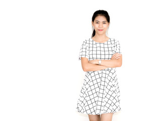 Portrait of a young beautiful asian girl. Isolated on white back