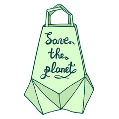 Save the planet. Paper bag with a hand drawn inscription. Origami package, polignal isolated object.