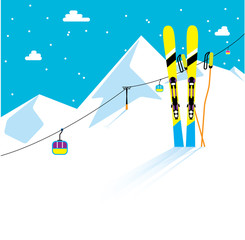 Skies and skiing sticks in the snow. Winter skiing resort with the cable cars on the background. Winter mountains. Vector