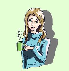Meisje drinkt warme mok met chocolademelk