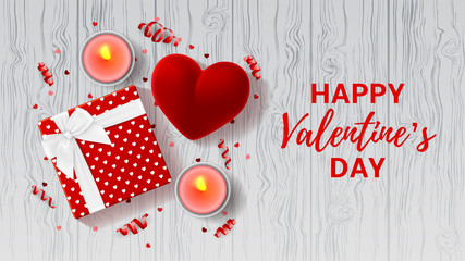 Valentine's Day greeting card. Top view on romantic composition with gift box and red case for ring. Beautiful backdrop with confetti and candles on wooden texture. Vector illustration.