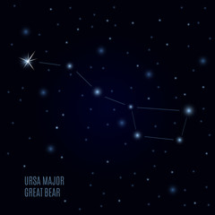 Great Bear Constellation. Starry sky and Ursa Major. Abstract stars background. Galactic backdrop. Space Vector illustration