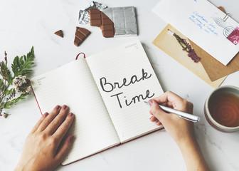 Break Time Relaxation Recess Cessation Loosen Up Getaway Concept
