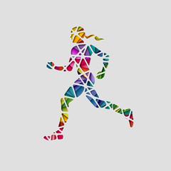 Abstract female runner, eps10 vector