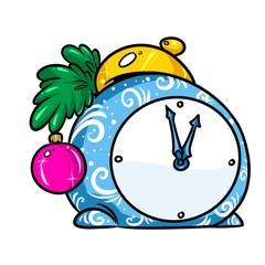 Christmas holiday clock cartoon illustration isolated image