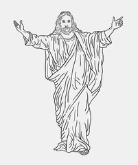 Jesus christ religion line art drawing style. Good use for symbol, logo, web icon, mascot, sign, sticker, or any design you want.