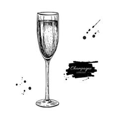Champagne glass with bublles. Hand drawn isolated illustr