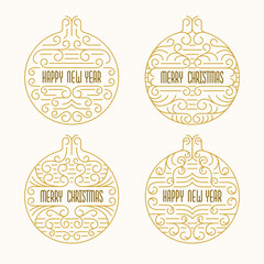 Merry Christmas and Happy New Year badges. Frames in outline style. Xmas banners with Christmas balls in golden colors.