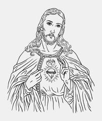 Jesus christ catholic religion art line drawing style. Good use for symbol, logo, web icon, mascot, sticker, sign, or any design you want.