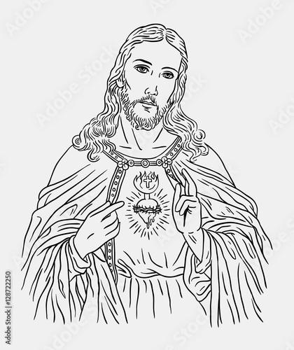 Line Drawing Jesus Christ : Quot jesus christ catholic religion art line drawing style