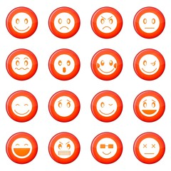 Emoticon icons vector set of red circles isolated on white background