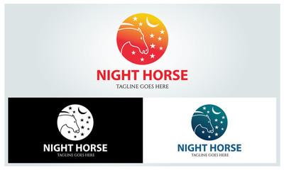 Night horse logo design template ,Vector illustration