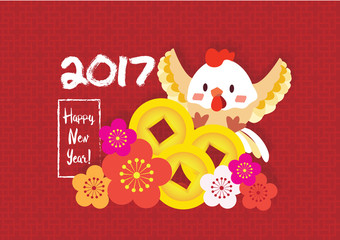 2017 new year card; cute chicken with golden coin and chinese flower background vector