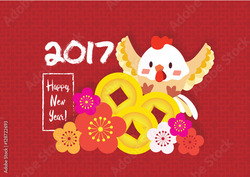 2017 new year card cute chicken with golden coin and chinese flower background vector