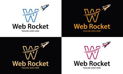 Web rocket logo design template ,Letter W logo ,Rocket logo ,Vector illustration