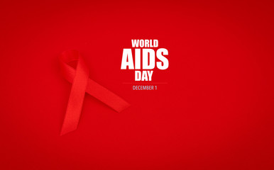 Aids Awareness Red heart Ribbon on red background .