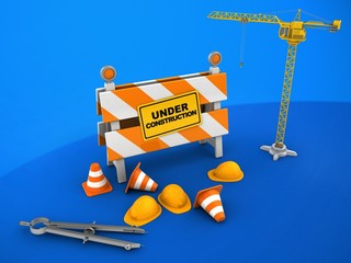 3d illustration of under construction stand over blue background with crane