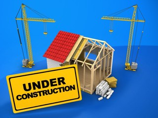 3d illustration of frame house construction over blue background with cranes