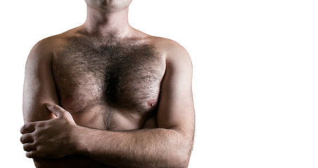 Man with hairy chest isolated on white background for text.