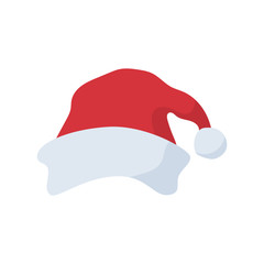 Santa Claus red hat in cartoon flat style. Santa Claus red hat isolated on white background