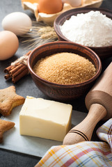 Ingredients for cooking  baking. Flour, sugar, eggs, butter and spices.