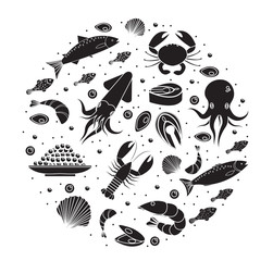 Seafood icons set in round shape, black silhouette. Sea food collection isolated on white background. Fish products, marine meal design element. Vector illustration