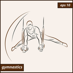 Vector illustration. Illustration shows a gymnast performing acrobatic movements on the rings. Sport. Gymnastics
